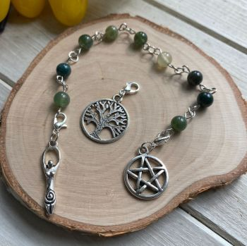 Moss Agate Spell Beads with Pentagram, Goddess and Tree of Life Charms