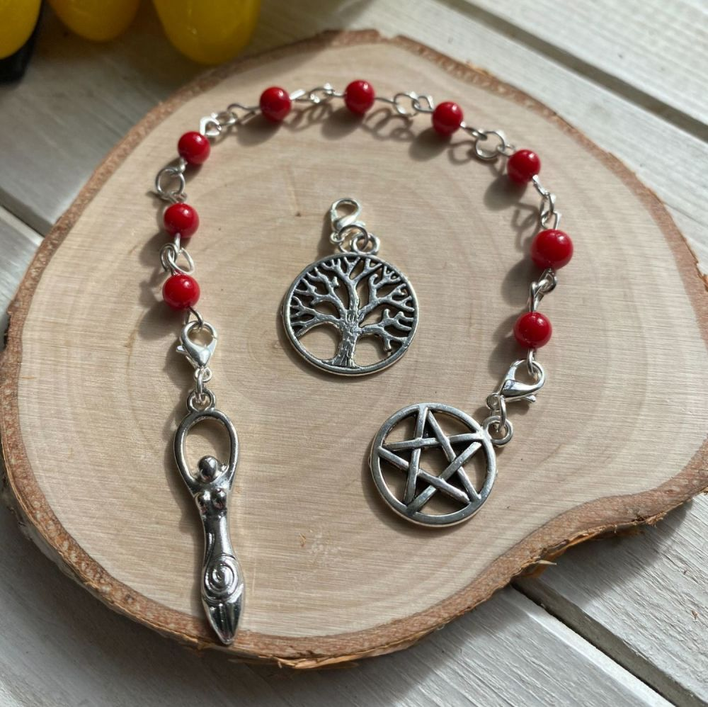 Red Coral Spell Beads with Pentagram, Goddess and Tree of Life Charms