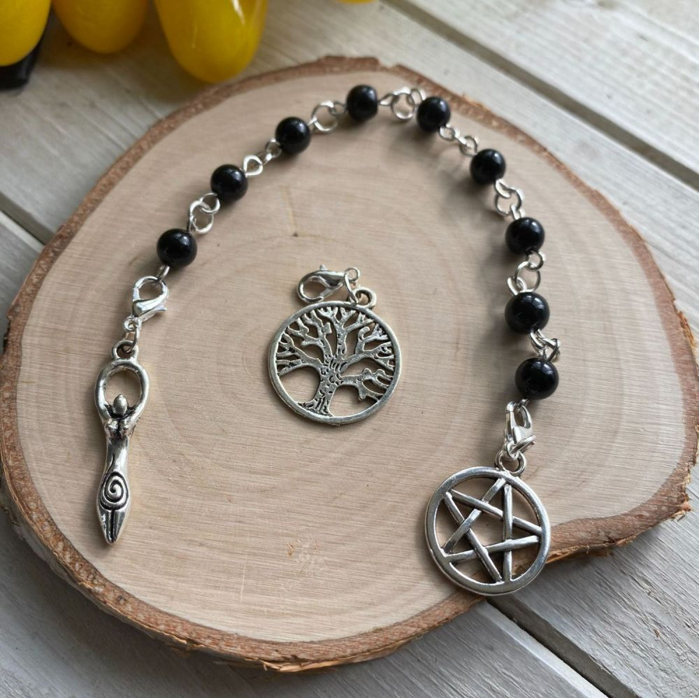 Black Obsidian Spell Beads with Pentagram, Goddess and Tree of Life Charms