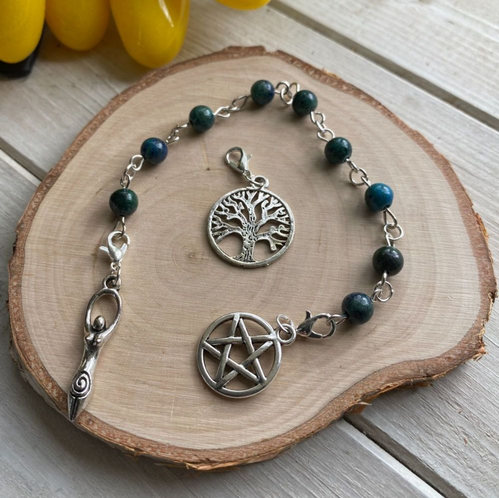 Azurite Spell Beads with Pentagram, Goddess and Tree of Life Charms