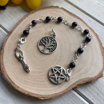 Blue Goldstone Spell Beads with Pentagram, Goddess and Tree of Life Charms