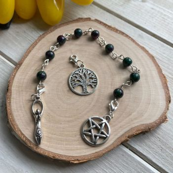 Ruby Zoisite Spell Beads with Pentagram, Goddess and Tree of Life Charms