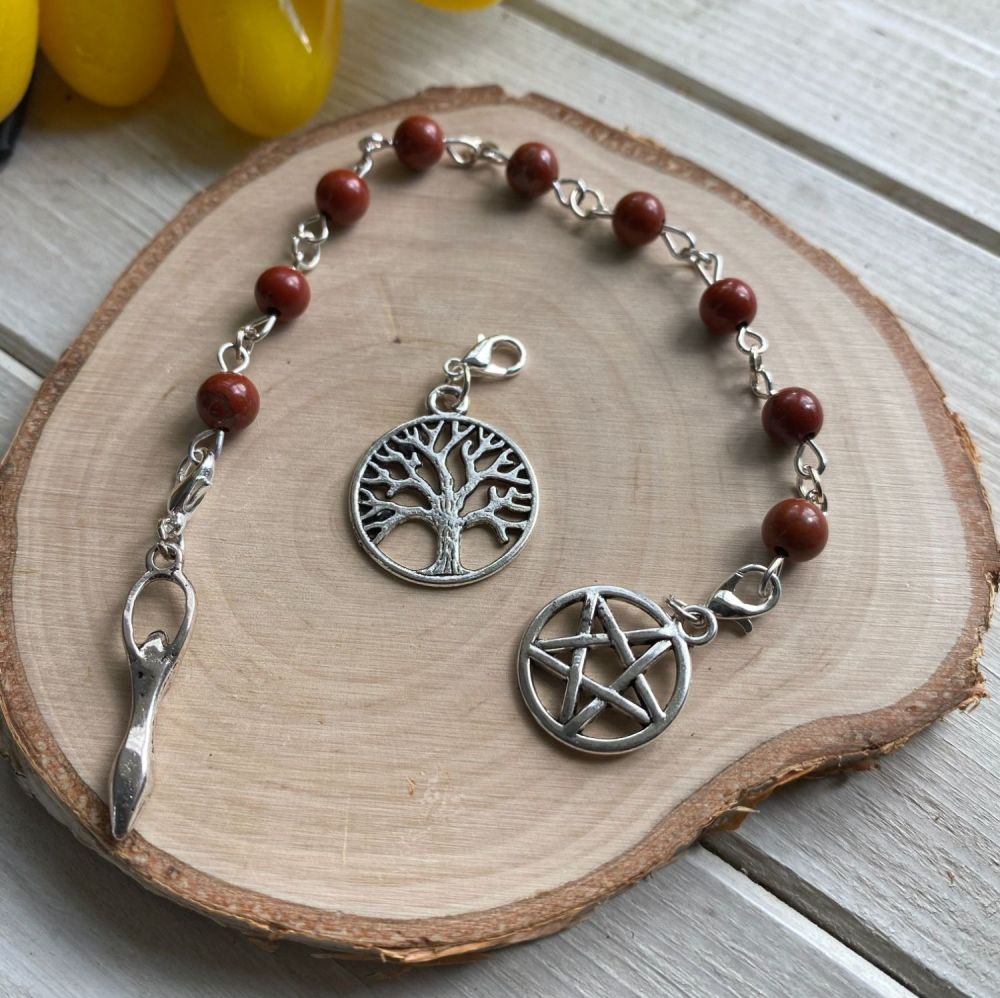 Red Jasper Spell Beads with Pentagram, Goddess and Tree of Life Charms