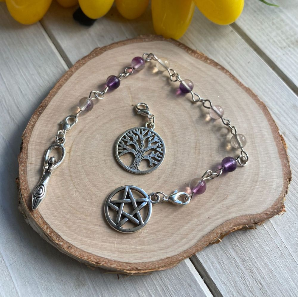 Fluorite Spell Beads with Pentagram, Goddess and Tree of Life Charms