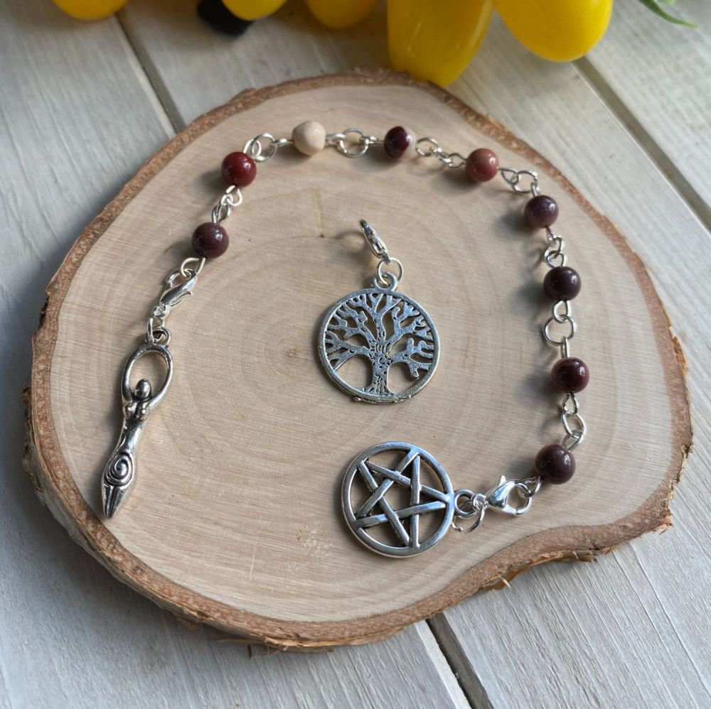 Mookaite Spell Beads with Pentagram, Goddess and Tree of Life Charms