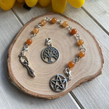 Orange Aventurine Spell Beads with Pentagram, Goddess and Tree of Life Charms