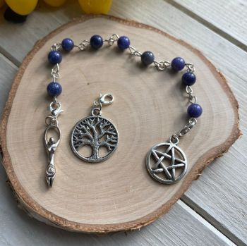 Blue Aventurine Spell Beads with Pentagram, Goddess and Tree of Life Charms