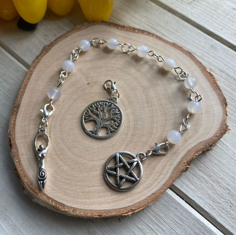Blue Lace Agate Spell Beads with Pentagram, Goddess and Tree of Life Charm
