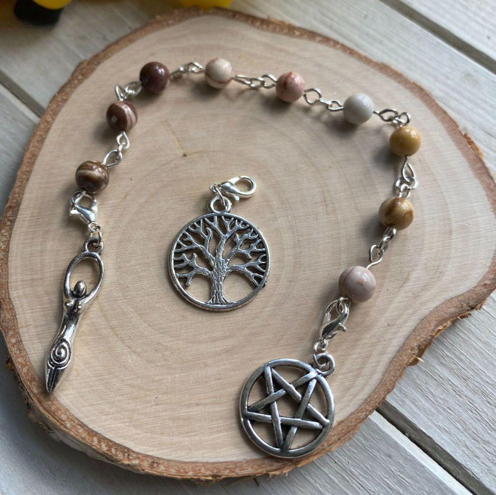 Brown Zebra Jasper Spell Beads with Pentagram, Goddess and Tree of Life Ch