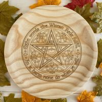 A Rustic Hand Crafted Wooden Spell Casting Plate with Wiccan Rede Design