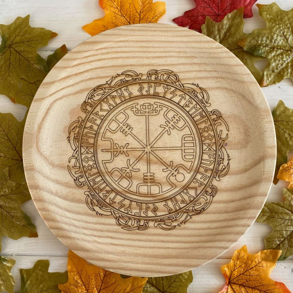 A Rustic Hand Crafted Wooden Spell Casting Plate with Runic Viking Compass