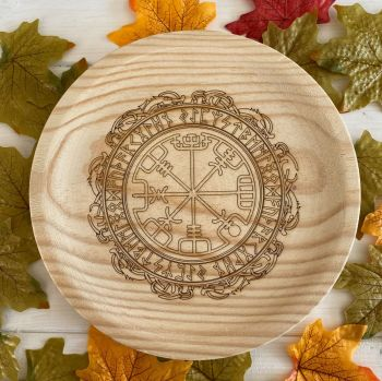 A Rustic Hand Crafted Wooden Spell Casting Plate with Runic Viking Compass Design