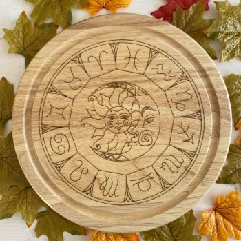 Astrology Wheel with Sun and Moon design Kitchen Board