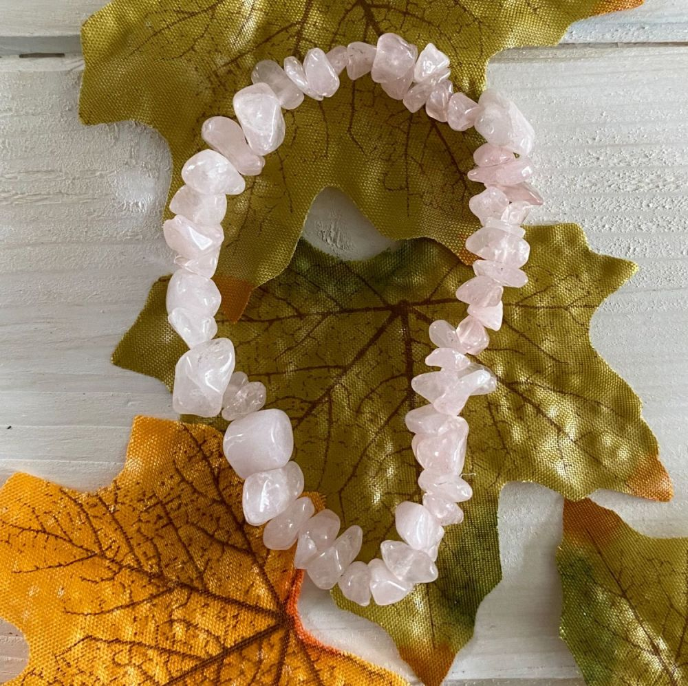 Rose Quartz Crystal Chip Bracelet ~ SALE