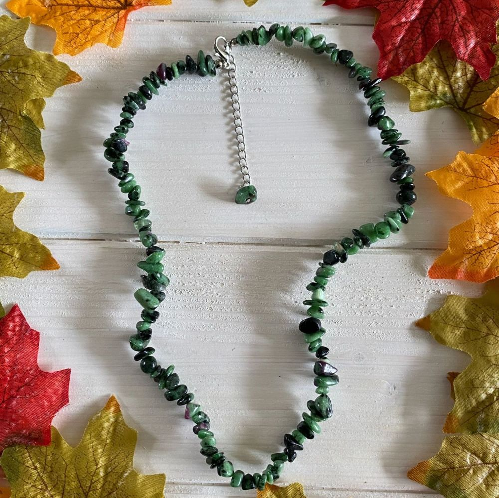 Ruby Zoisite Crystal Chip Necklace ~ SALE