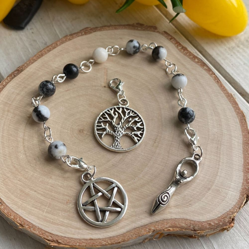 Zebra Agate Spell Beads with Pentagram, Goddess and Tree of Life Charms