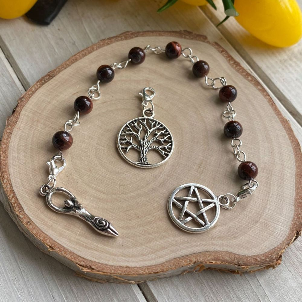 Red Tiger Eye Spell Beads with Pentagram, Goddess and Tree of Life Charms