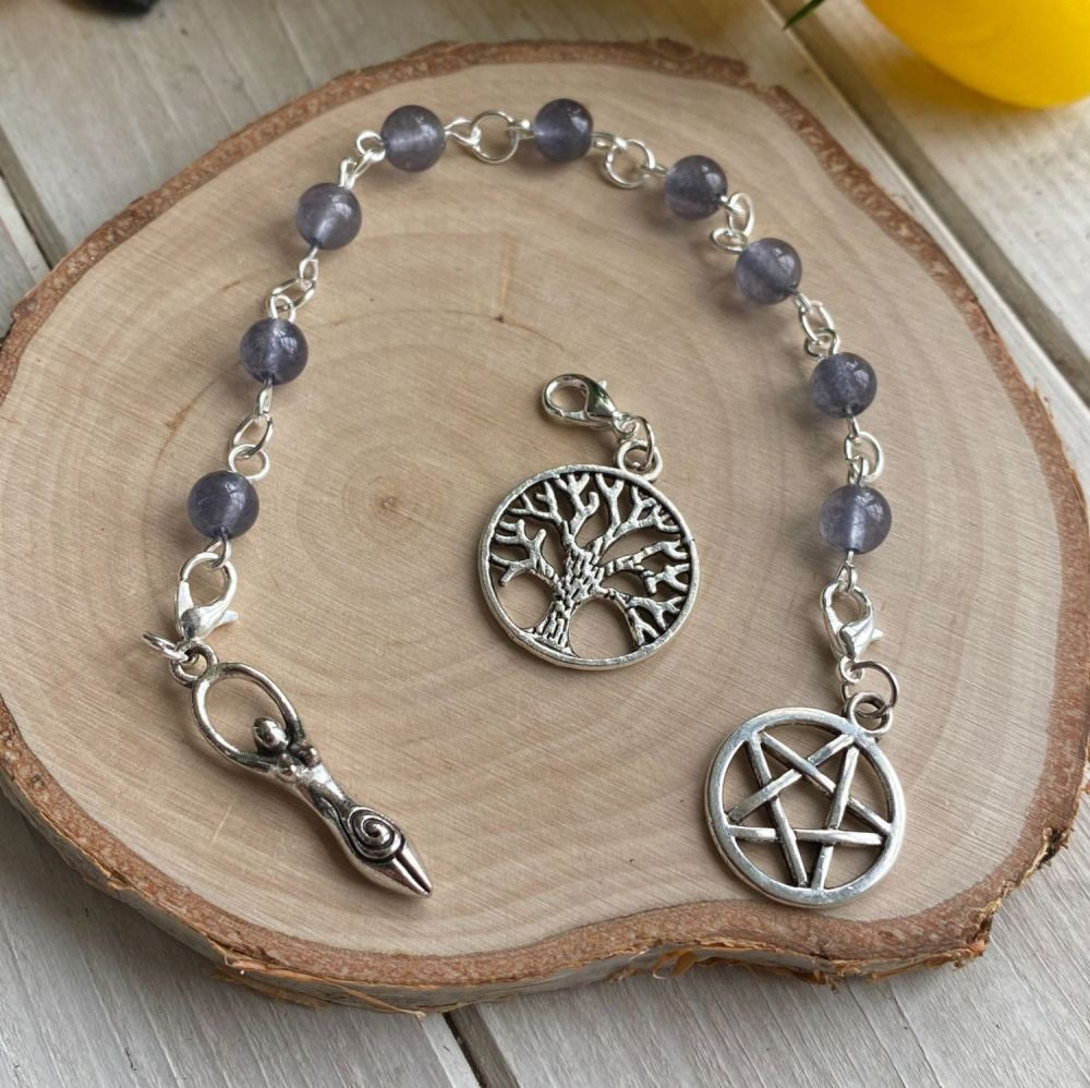 Lolite Spell Beads with Pentagram, Goddess and Tree of Life Charms