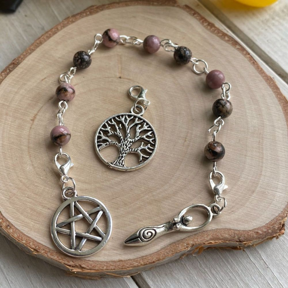 Rhodonite Spell Beads with Pentagram, Goddess and Tree of Life Charms
