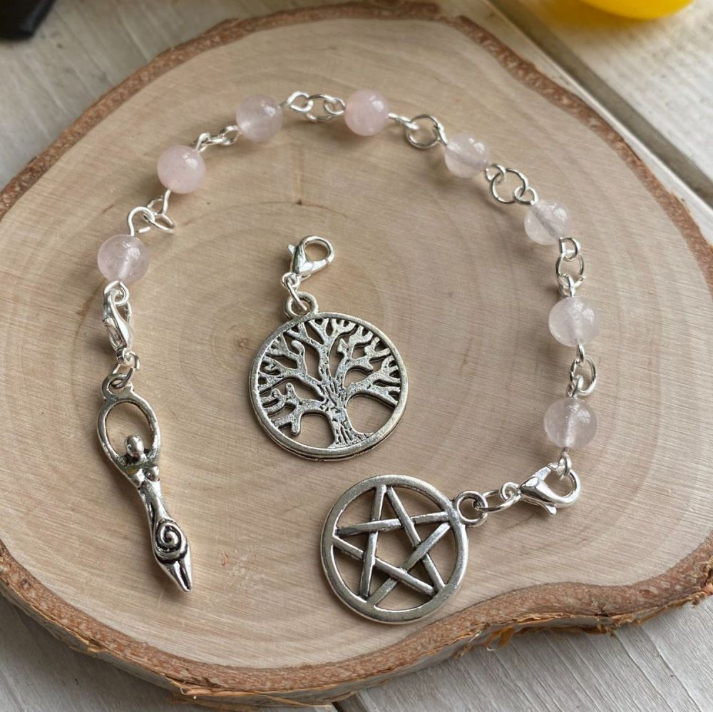 Rose Quartz Spell Beads with Pentagram, Goddess and Tree of Life Charms