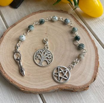 Tree Agate Spell Beads with Pentagram, Goddess and Tree of Life Charms