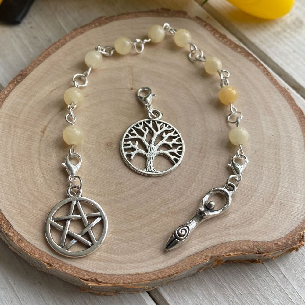Calcite Spell Beads with Pentagram, Goddess and Tree of Life Charms