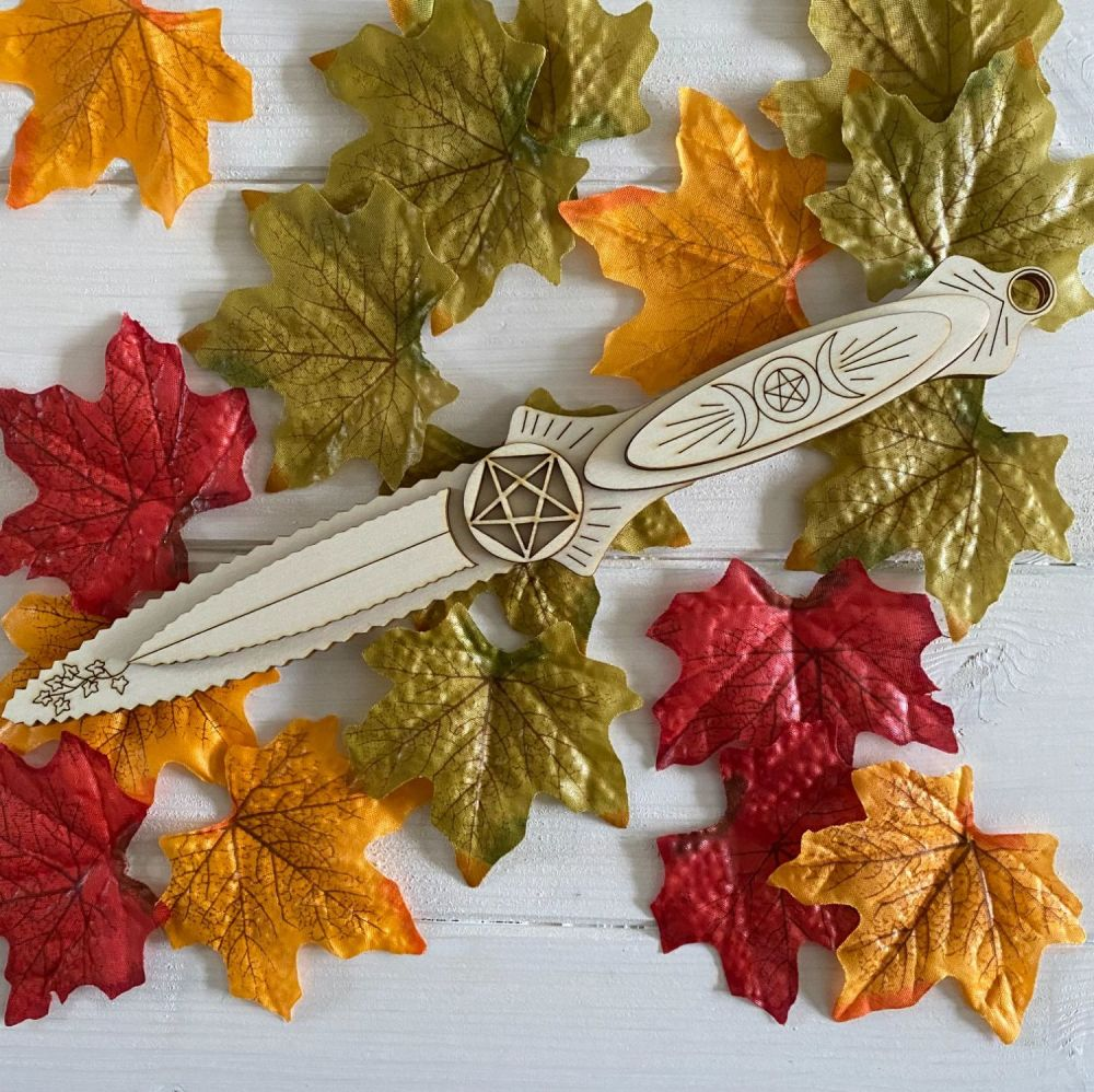 Hand Crafted Wood Athame with Pentagram and Triple Moon