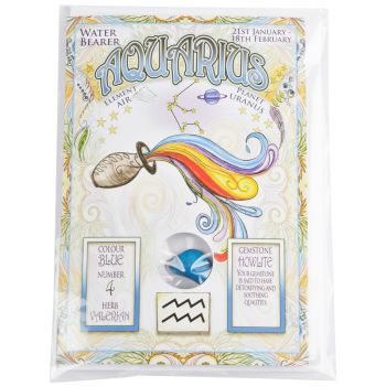 Zodiac Greeting Card with Crystal ~ Aquarius