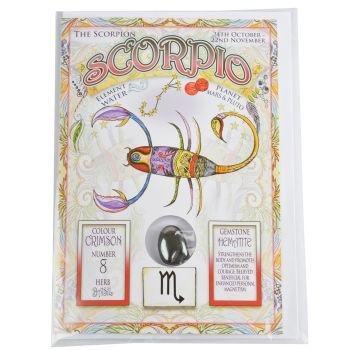 Zodiac Greeting Card with Crystal ~ Scorpio