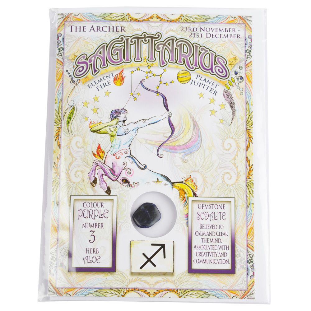 Zodiac Greeting Card with Crystal ~ Sagittarius