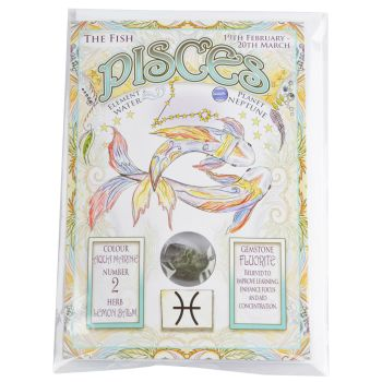 Zodiac Greeting Card with Crystal ~ Pisces