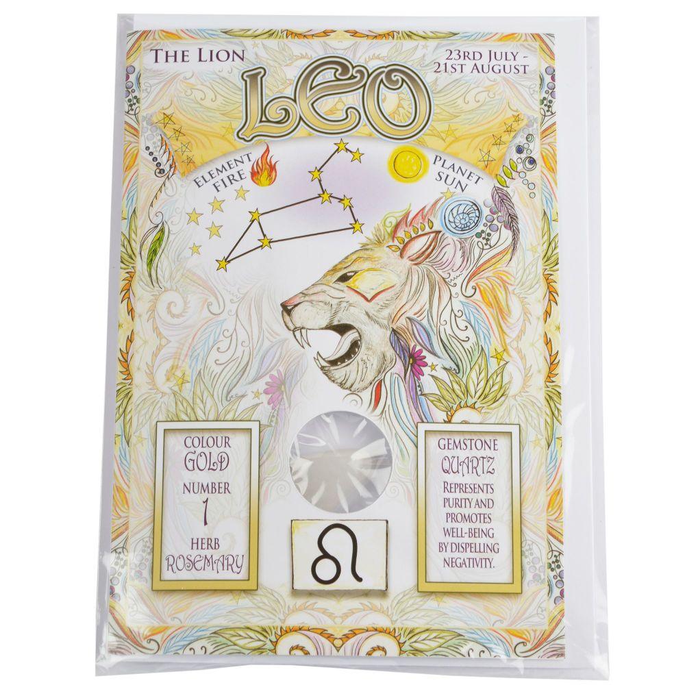 Zodiac Greeting Card with Crystal ~ Leo