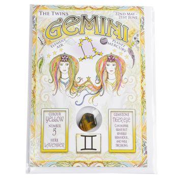 Zodiac Greeting Card with Crystal ~ Gemini