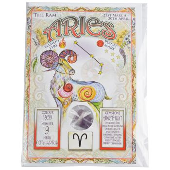 Zodiac Greeting Card with Crystal ~ Aries