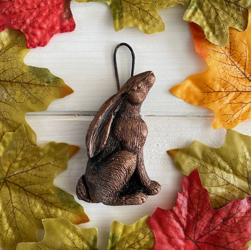Moon Gazing Hare with loop for hanging ~ Bronze