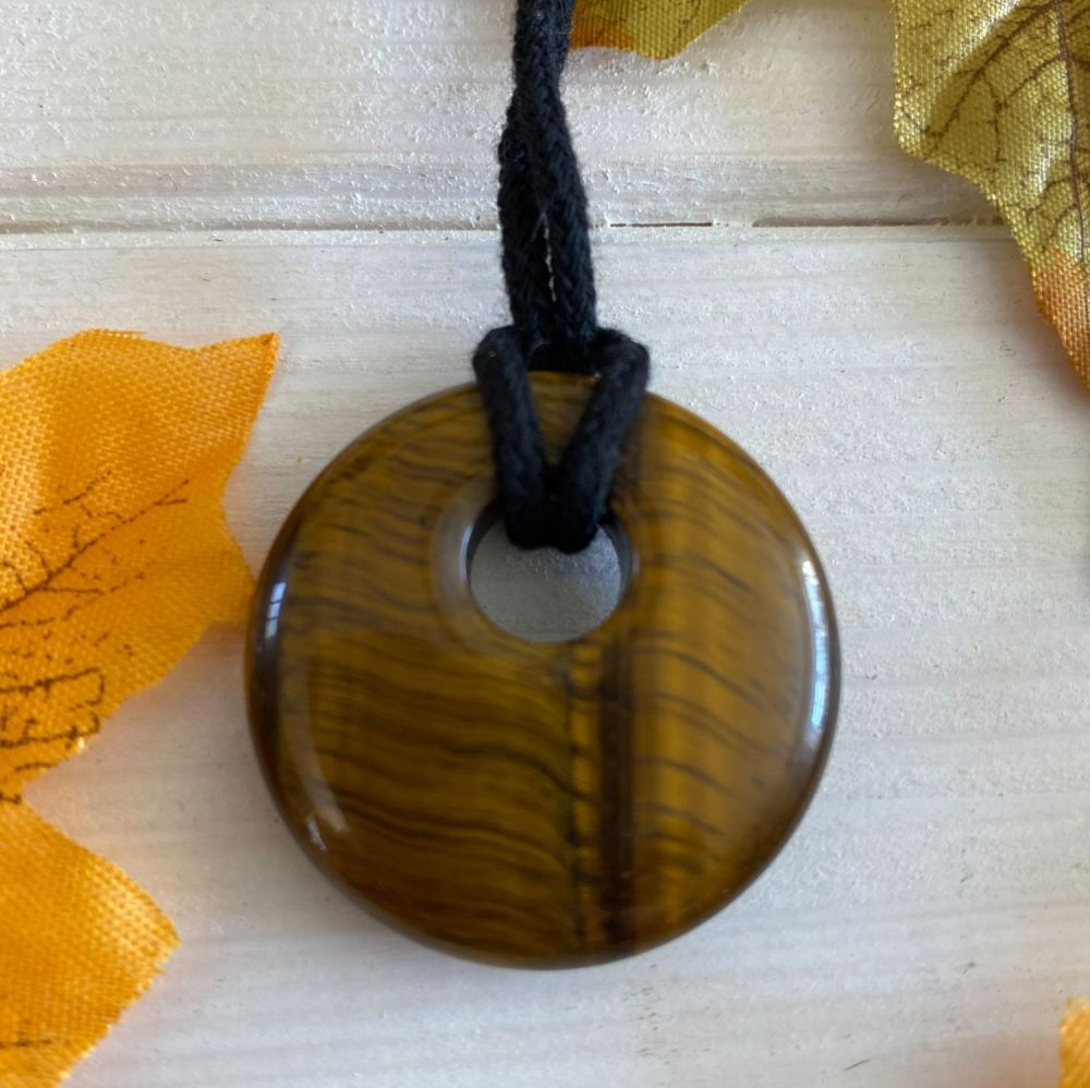 Tigers Eye Crystal Doughnut Pendant with Black Cord Necklace