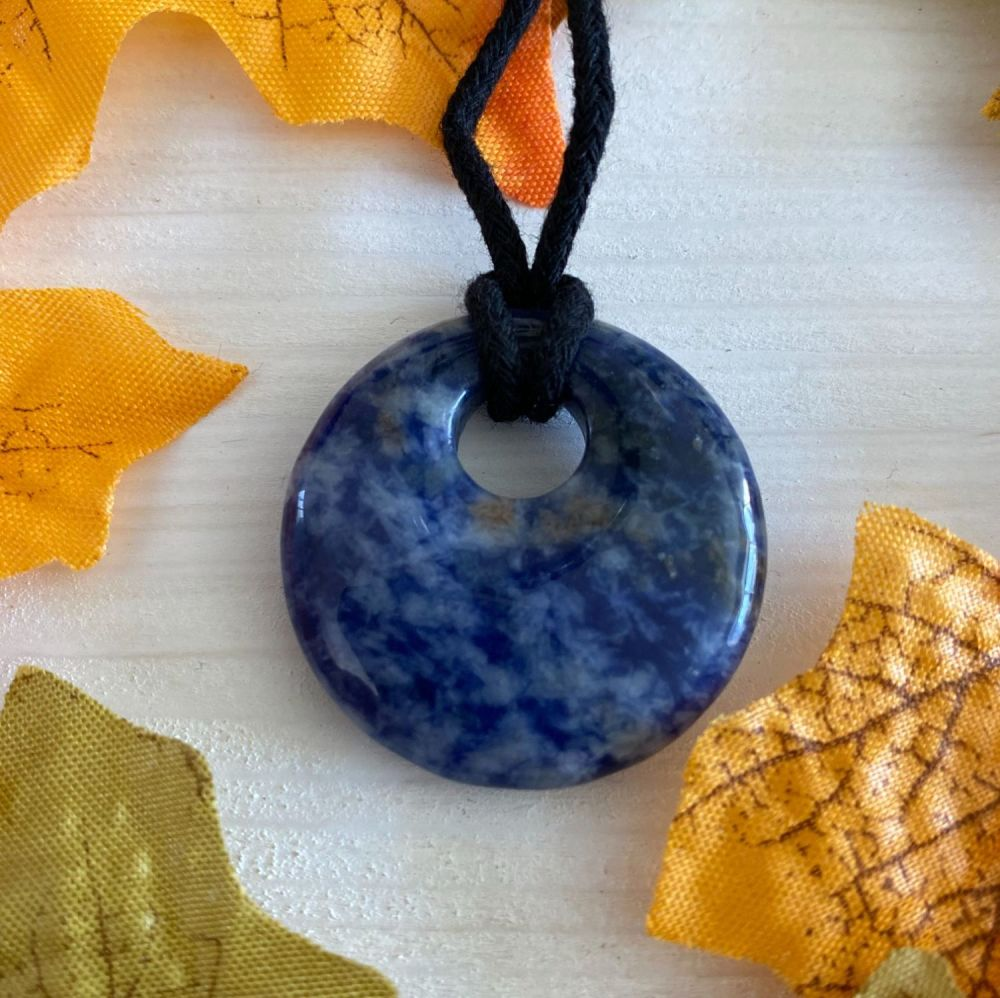 Sodalite Crystal Doughnut Pendant with Cord Necklace