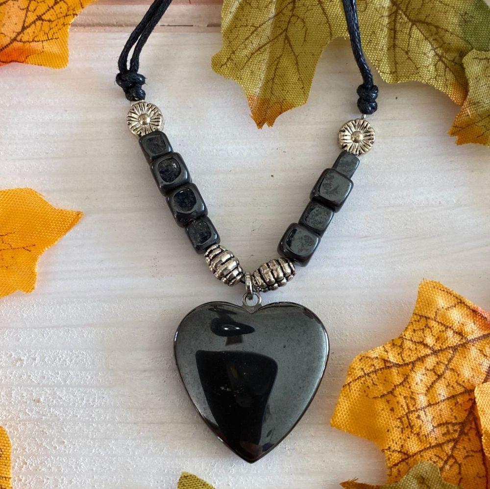 Crystal Heart Pendant ~ Hematite