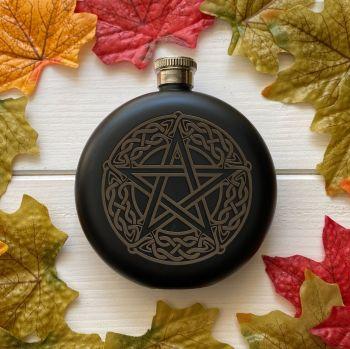 A Stunning Matt Black Celtic Pentagram and Moon Phase Hip Flask