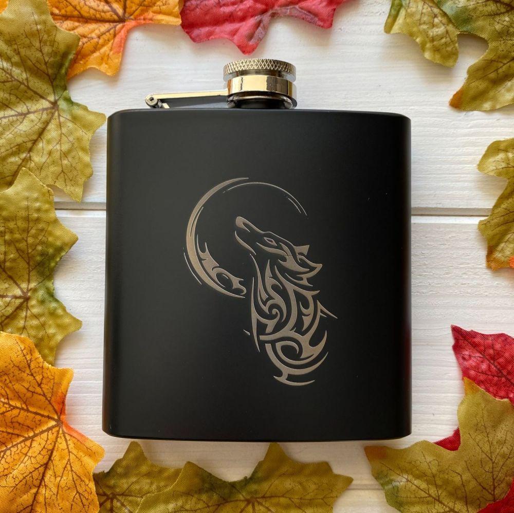 A Stunning Matt Black Celtic Wolf Hip Flask ~ One of a kind
