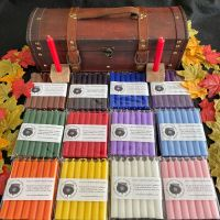 84 Candles (10 cm) in 12 colours in a Wooden Chest with Oak Candle Holders and Info