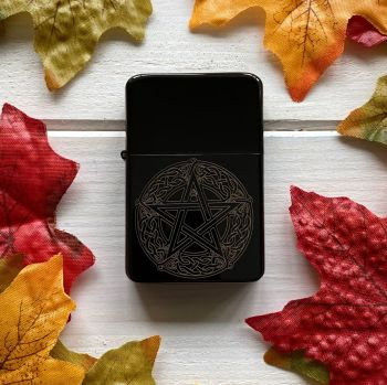 A stunning engraved lighter with Celtic Pentagram and Moon Phase design