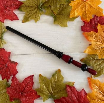 Hand Crafted Wooden Pocket Wand ~ Red and Black  #3