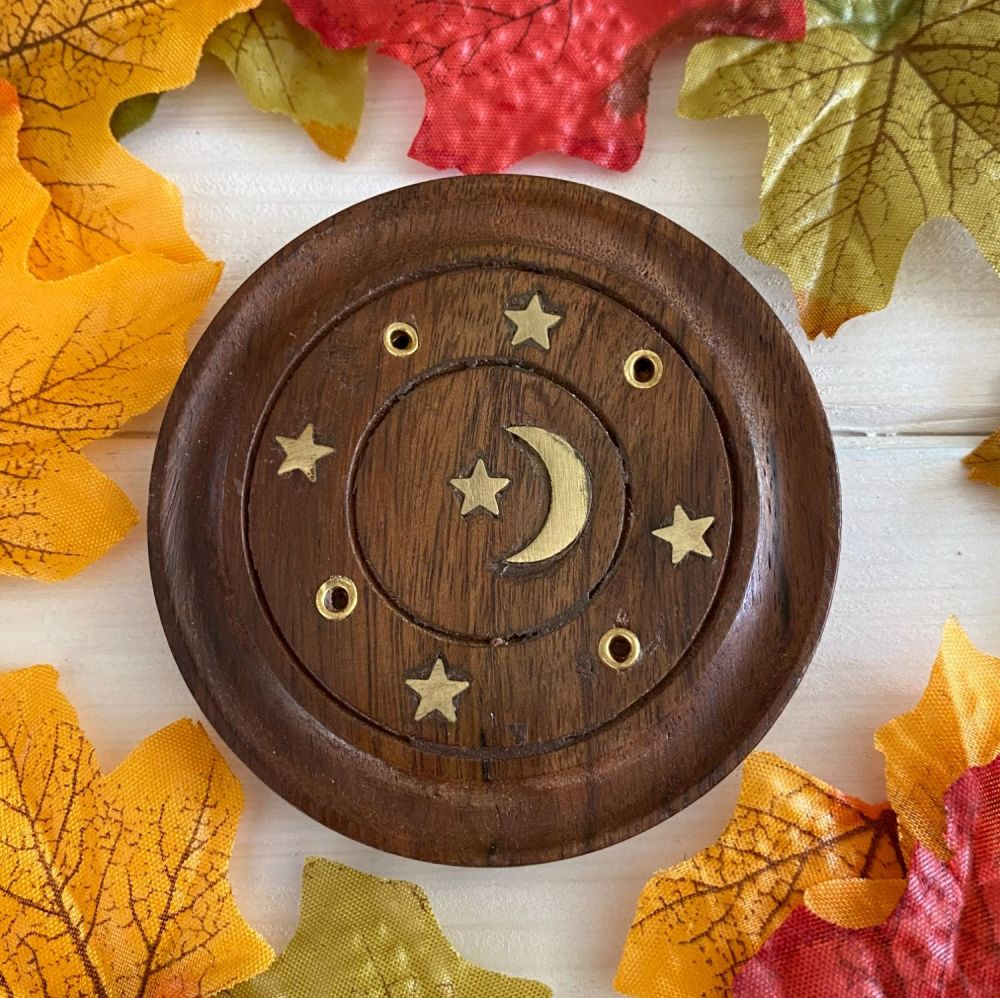 Moon and Stars Wooden Incense Stick Holder