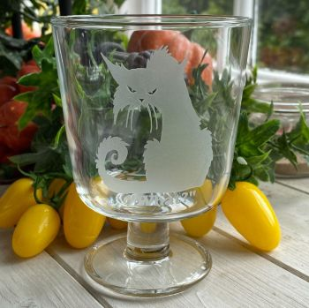 Engraved Glass Chalice ~ Gothic Cat