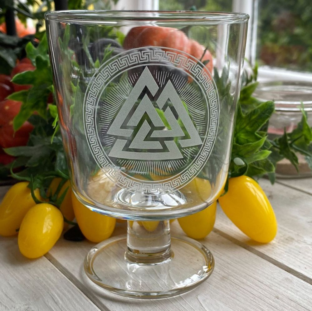 Engraved Glass Chalice ~ Valknut and Celtic Border