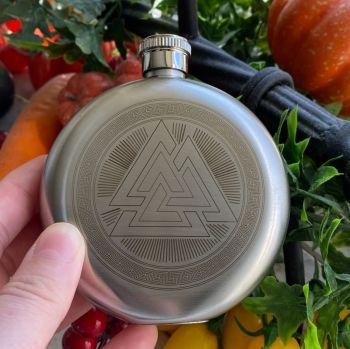 A Stunning Valknut Hip Flask