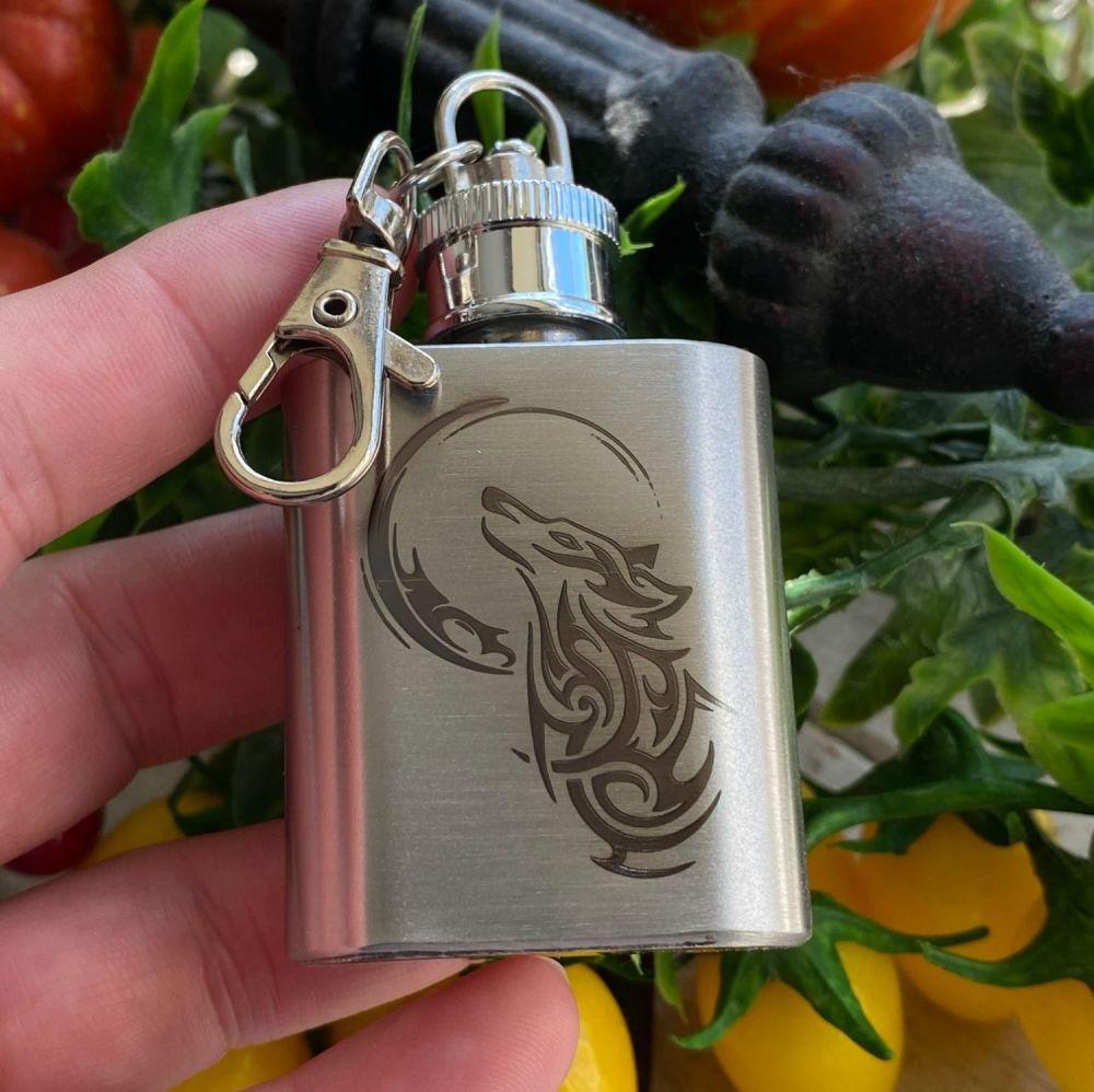 A Stunning Celtic Wolf Mini Hip Flask Keyring