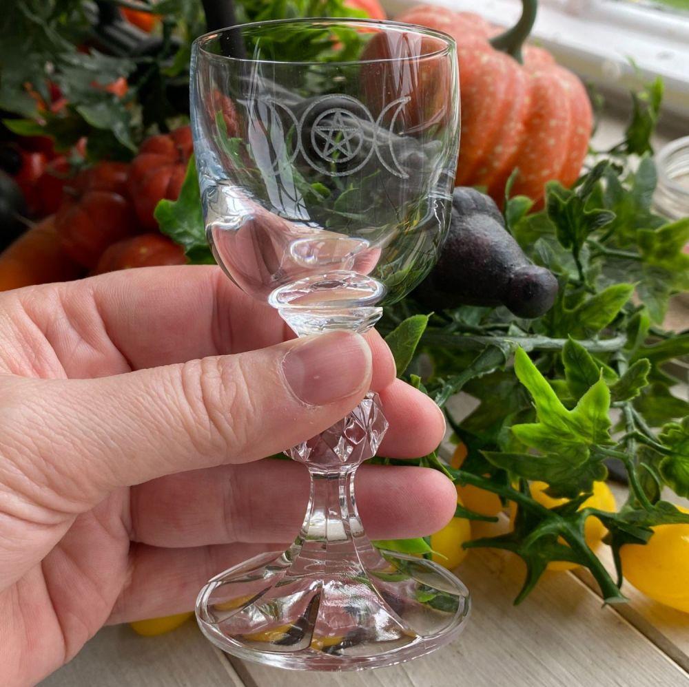 Cut Glass Crystal Chalice ~ Triple Moon