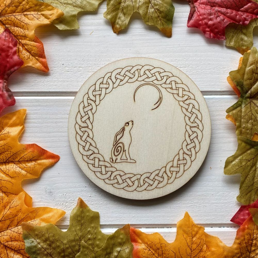 Moon Gazing Hare Altar Tile with Celtic Border